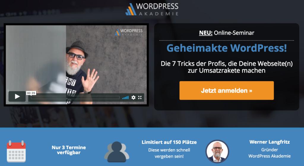 Wordpress Akademie Webinar Geheimakte